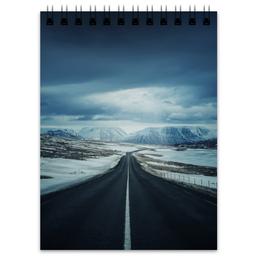 """Блокнот """"дорога в..."""" - дорога, снег, горы"""