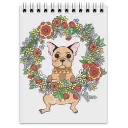 """Блокнот """"Французский бульдог"""" - цветы, животные, собаки, природа"""