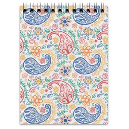 """Блокнот """"Разноцветные пейсли (индийский огурец)"""" - цветы, листья, пейсли, индийский огурец"""