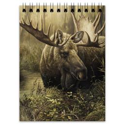 """Блокнот """"Лось в лесу"""" - животные, рисунок, лес, лось, чащоба"""