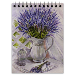 "Блокнот ""Лаванда на столе "" - лаванда, цветы, рисунок"