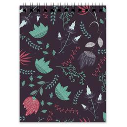 """Блокнот """"Цветочный вихрь"""" - цветы, узор, цветок, листья, ветки, паттерн, сказочный"""