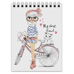 """Блокнот """"Девушка и котёнок"""" - девушка, велосипед, котёнок, друг"""