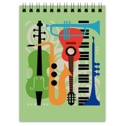 """Блокнот """"Музыкальные инструменты"""" - музыка, гитара, скрипка, инструменты, саксафон"""