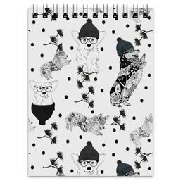 """Блокнот """"Зимняя прогулка"""" - животные, черно-белое, корги, собака, маленькая собака"""