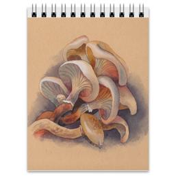 """Блокнот """"Грибы"""" - белый, бежевый, грибы, пастельный"""