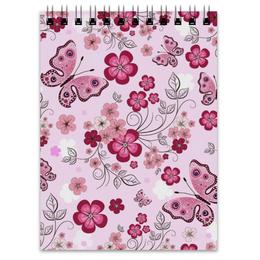 """Блокнот """"Бабочки"""" - бабочки, цветы, розовый фон"""