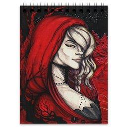 """Блокнот """"Красный лес"""" - девушка, рисунок, иллюстрация"""