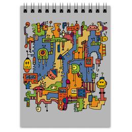 """Блокнот """"Роботы в стиле дудл"""" - робот, роботы, дудл, doodle, прикольные роботы"""