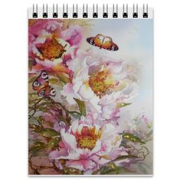 """Блокнот """"Пионы и бабочки 2"""" - бабочки, цветы, 8 марта, акварель, живопись"""