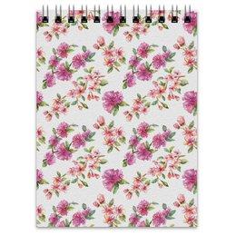 """Блокнот """"Цветочный узор сакура и цветы яблони"""" - весна, розовый, сакура, цветение"""