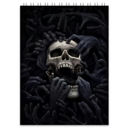 """Блокнот """"Череп"""" - skull, череп, руки, пальцы"""