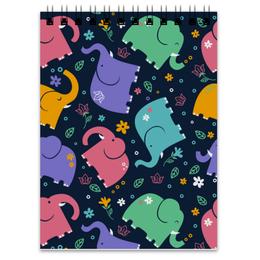 """Блокнот """"Слоники"""" - животные, рисунок, детский, стильный, слоны"""