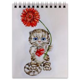 """Блокнот """"Котёнок с герберой"""" - кот, цветы, рисунок, котёнок, гербера"""