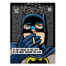"Блокнот ""Иэн Бэтмен Кертис"" - batman, joy division, бэтмен, justice league, лига справедливости"