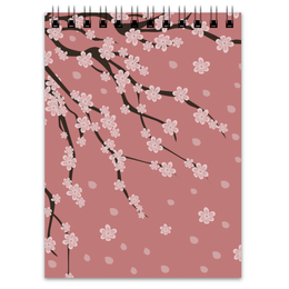 """Блокнот """"Сакура"""" - цветы, весна, розовый, дерево, лепестки, паттерн, сакура, цветение, sakura"""