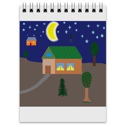 """Блокнот """"рисунок Добрый вечер"""" - арт, рисунок, дом, деревня, вечер"""