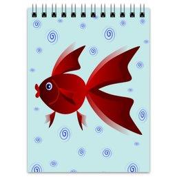 """Блокнот """"Золотая аквариумная рыбка"""" - арт, золотая рыбка, аквариум, детская иллюстрация, под знаком рыб"""