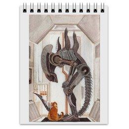 """Блокнот """"Чужой и Котик"""" - кот, юмор, alien, фантастика, чужой"""