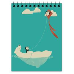 "Блокнот ""Медведь с пингвинами"" - медведь, море, пингвин, север, змей"