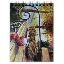 """Блокнот """"Осеннее тепло"""" - кот, осень, чай, осенний парк"""