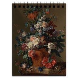 "Блокнот ""Ваза с цветами (Ян ван Хёйсум)"" - цветы, картина, живопись, натюрморт, ян ван хёйсум"