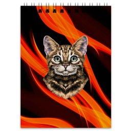 """Блокнот """"Без названия"""" - кот, животные, котенок, огонь, пламя"""