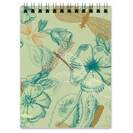 """Блокнот """"Флора и Фауна"""" - цветы, рисунок, стильный, цветочный, стрекозы"""