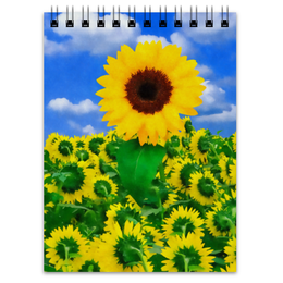 "Блокнот ""Подсолнух"" - лето, цветок, небо, облака, подсолнух"
