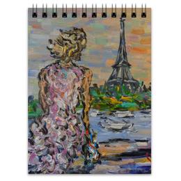 """Блокнот """"Парижанка"""" - девушка, весна, небо, париж, эйфелева башня"""