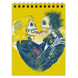 "Блокнот ""Punks not Dead"" - череп, сердце, любовь, heart, love, черепа, рок, стиль, скелет, rock"