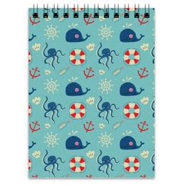 """Блокнот """"Морские обитатели"""" - море, якорь, кит, осминог, штурвал"""