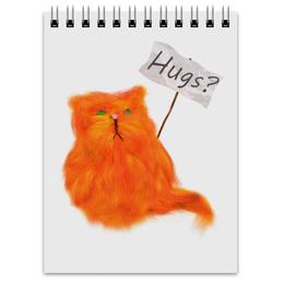 """Блокнот """"Обнимашки?"""" - кот, cat, рыжий, обнимашки, hugs"""