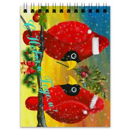 """Блокнот """"Новый Год на ветке"""" - сувенир с прикольным рисунком, прикольные птички, парочка красных птиц, новогодний сувенир, любовь"""