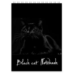 """Блокнот """"Чёрный кот."""" - кот, чёрный кот, в темноте, кошачий глаз, взгляд кота"""