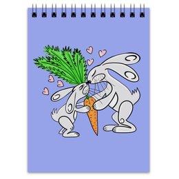 """Блокнот """"Зайчишки с морковкой"""" - любовь, подарок, морковка, влюбленность, зайчишки"""