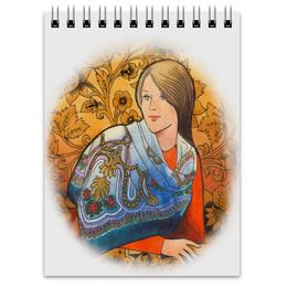 """Блокнот """"Хохлома"""" - девушка, орнамент, хохлома, золотой, платок"""