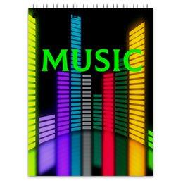 "Блокнот ""Music"" - музыка, music, плеер, мелодия, звуковая волна"