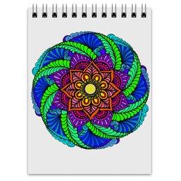 """Блокнот """"Цветок в этническом стиле"""" - цветы, узор, мандала, этнический, мехенди"""