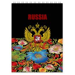 """Блокнот """"Герб России"""" - цветы, россия, герб, russia, хохлома"""