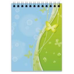"""Блокнот """"Летний мотив"""" - бабочки, лето, небо, трава, мыльные пузыри"""
