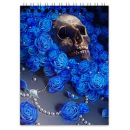 """Блокнот """"Череп"""" - skull, череп, цветы, смерть, розы"""