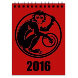 """Блокнот """"2016 год - год Красной Обезьяны"""" - 2016, год обезьян, нвый год"""