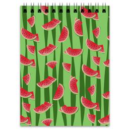 """Блокнот """"Арбуз"""" - полоска, красный, ягода, зеленый, семена"""