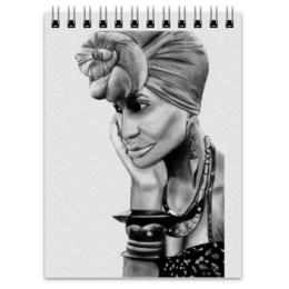 """Блокнот """"Стильная девушка"""" - девушка в платке, рисунок карандашом, девушка в браслетах"""