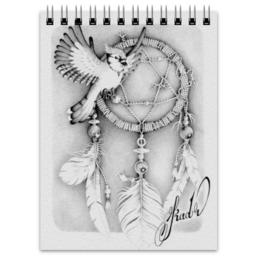 """Блокнот """"Satta Massagana"""" - арт, птица, рисунок, ловец снов, сойка"""