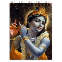 """Блокнот """"Hare Krishna (Господь Кришна)"""" - кришна, харе кришна, hare krishna, krishna, кришна с флейтой"""