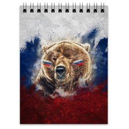 """Блокнот """"Русский Медведь"""" - футбол, медведь, россия, флаг, триколор"""