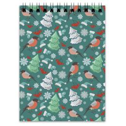 "Блокнот ""Снегири"" - зима, птицы, деревья, рождество, снежинки, елка, рябина, снегири"