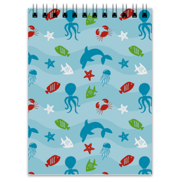 """Блокнот """"Морской"""" - рыба, краб, осминог, медуза, дельфин"""